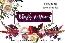 Burgundy Flowers Burgundy White Watercolor Flowers Illustrations Creative Market