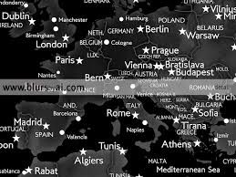 Black And White World Map Printable World Map With Cities In Black Grey And White 36x24