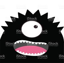 baby halloween background monster head with one eye teeth tongue black color funny cute