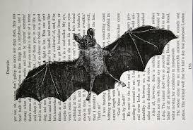 Vintage Halloween Books by As Seen On True Blood Bat Print Vintage Dracula Book Page
