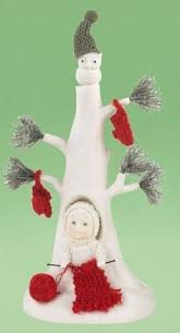 snowbabies tree toppers u0026 trunk set of 4 green with red