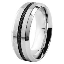 comfort fit ring men s west coast jewelry stainless steel with blacktone cable