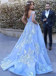 light blue ball gowns prom dresses 2018 lace appliques evening