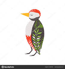 woodpecker relaxed cartoon wild animal closed eyes decorated