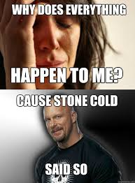 Stone Cold Meme - why does everything happen to me cause stone cold said so stone