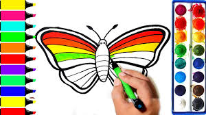 rainbow butterfly coloring pages art colors for kids draw