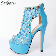 light blue shoes womens sorbern light blue lace women pumps plus size rivets peep toe zipper
