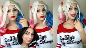 harley quinn squad makeup tutorial dark hair halloween