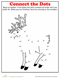 christmas dot to dot reindeer worksheets activities and