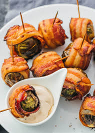 bacon wrapped brussels sprouts make ahead thanksgiving appetizer