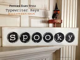 pottery barn halloween decor chalkboard blue vintage typewriter keys halloween sign