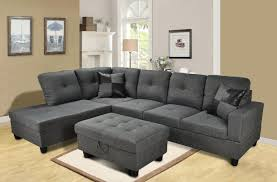 Sectional Sofa Bed With Storage Amazon Com Beverly Furniture 3 Piece Microfiber And Faux Leather