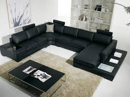Black Leather Sofa With Cushions Living Room White Sofa Cushions Brown Wooden Wall White Coffee