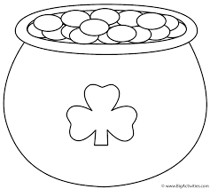 pot of gold with shamrock coloring page st patrick u0027s day