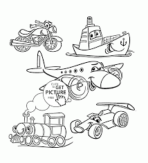 cartoon transport set coloring page for toddlers transportation