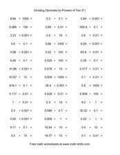 dividing decimals by powers of ten f 5th 6th grade worksheet