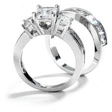 engagement and wedding ring set 3 stones emerald cut cz engagement wedding ring set