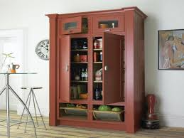 furniture large brown wooden kitchen pantry cabinet with double