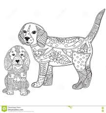 dog and puppy antistress or children coloring page stock
