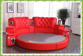 red round bed genuine cow leather wedding bed selling in beds