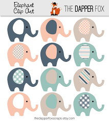 elephant clip art in navy teal peach instant download baby
