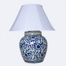 navy and white ginger jar lamp