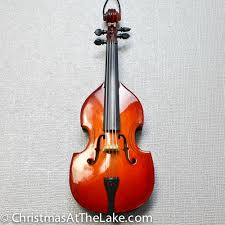 upright bass ornament at the lake