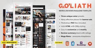 goliath u2013 news u0026 reviews magazine template u2013 over millions vectors