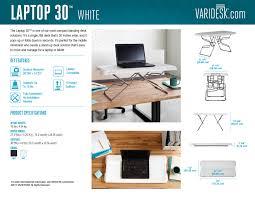 Fully Assembled Computer Desks by Small Standing Desk Laptop 30 White Varidesk