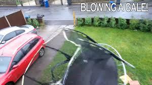 trampoline flies away as storm doris as high winds and rain