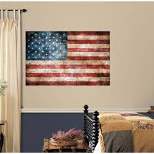 American Flag Home Decor Roommates 5 In X 11 5 In Vintage American Flag Peel And Stick