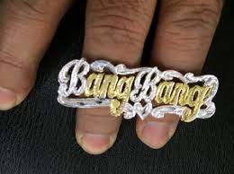 two finger name ring personalized 14k gold plate silver 2 finger any name ring
