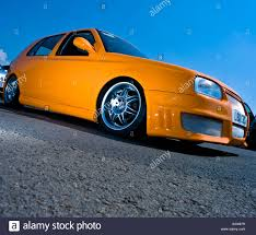 orange volkswagen gti slammed lowered vw volkswagen golf gti mk4 stock photo royalty