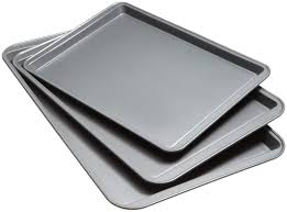 amazon com good cook set of 3 non stick cookie sheet baking