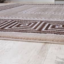 Wohnzimmer Beige Teppich Wohnzimmer Bordüre Ornament Muster Abstrakt Design Meliert