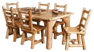 Log Dining Room Table Rustic White Cedar Log Family Dining Table Set With 6 Chairs