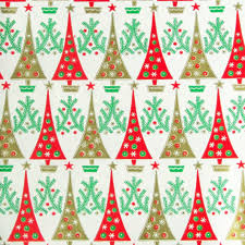 and gold christmas wrapping paper vintage 1960s christmas wrapping paper trees green gold