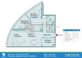 2 bedroom suite 1338 sqft floor plan of sky tower al reem island