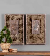 petrified wood and rattan wall décor set vivaterra