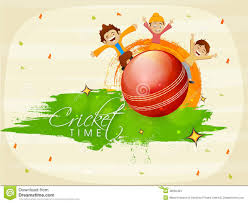 Cricket Flags Cricket Sports Concept With Kids And Ball Stock Image Image