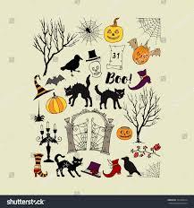 halloween background hand drawn elements halloween stock vector