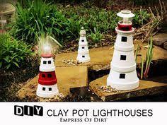 Lighthouse Garden Decor Diy Cute Clay Pot Lighthouses U2022 Garden Decor Clay Pot