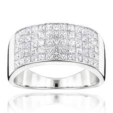 mens wide wedding band with princess cut diamonds 2 11ct 14k gold