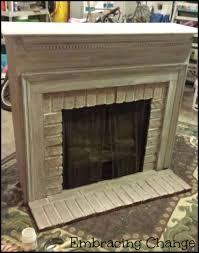 fireplace makeover with milk paint