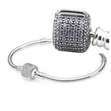 pandora charm bracelet clasp images Online cheap moments silver signature barrel clasp with clear cz jpg