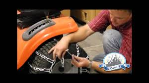 how to install lawn tractor tire chains youtube