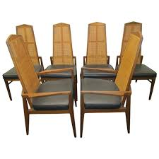 walnut dining room chairs six walnut foster and mcdavid cane back dining chairs mid century
