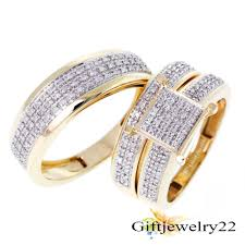 14k gold wedding ring sets his hers bridal 3 14k gold plated cut wedding