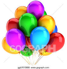 Clip Art  Party balloons multicolor and shiny Stock Illustration