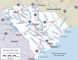 map of sc map of south carolina lakes and rivers